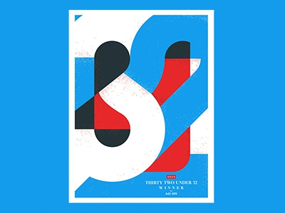 32 Under 32 Award Poster overprint white blue red adfed mn minnesota award color theory numbers screenprint poster