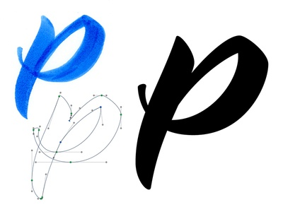 P Is For Process vector lettering brush script pen bezier type typography