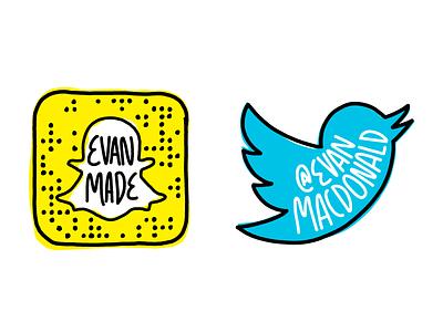 Social Media Icons drawing draw marker sketchy twitter snapchat icons social media