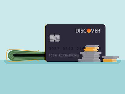 Cash or charge rejected pennies credit card credit cash coins illustration money