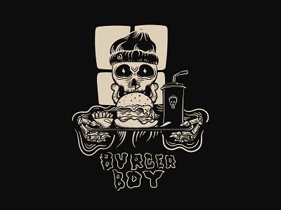 Burger boy skull illustration darkness apparel streetwear illustration tshirt design tshirt