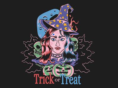 Trick or Treat halloween tshirt trick or treat halloween 2021 blue moon halloween horror darkness apparel streetwear tshirt tshirt design illustration
