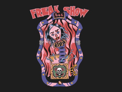 Freak Show horror tshirt tshirt designer halloween tshirt halloween clown horror darkness tshirt design apparel tshirt streetwear illustration