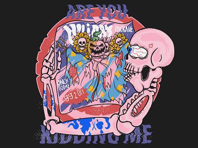 Holiday Package illustration tshirt travel tshirt designer halloween horror tshirt design skull holiday