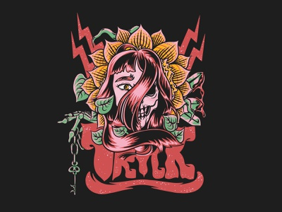 Trick woman skull hand drawn print design poster tshirt designer artwok sticker apparel tshirt design streetwear tshirt illustration