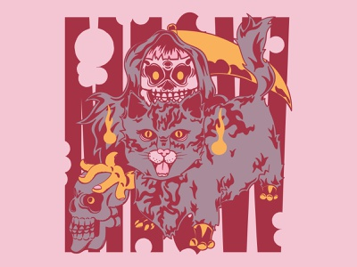 Meow pink funny scary 80s blue moon halloween mythology tshirt design funny skull illustration skull cat artwork grim reaper cat illustration cute cat pastel color pop art graphic design darkness illustration