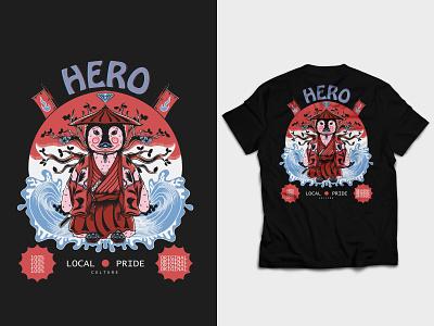 Local Hero nature element local pride vintage pop art penguin japan culture samurai japanese apparel streetwear tshirt illustration