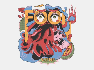Fool Scene Artwork fantasy for sale hand drawing uvo alien fool colorful surealism pop art artwork skull vintage illustration