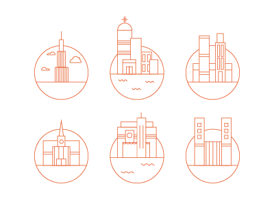 Building Icons circles building icons