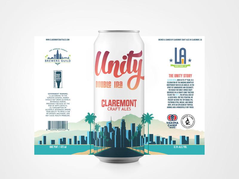 Can Design for Unity - LA Beer Week brewery los angeles unity type design type la beer week can art can design beer art beer label beer can beer typography branding vector design illustration