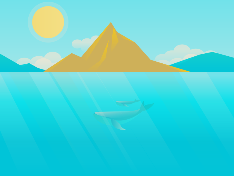 Whales illustration whales sun clouds sea ocean mountains whale