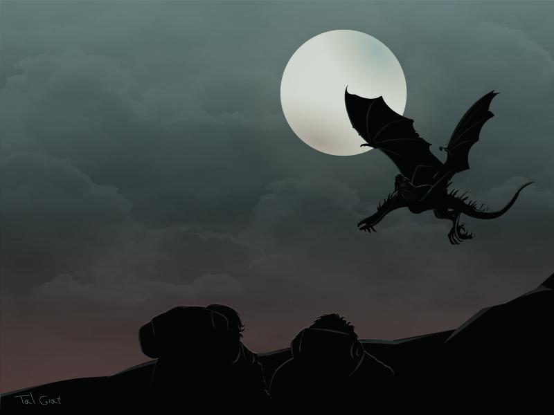Nazgul night vector death moon sky hobbit dragon illustration frodo nazgul