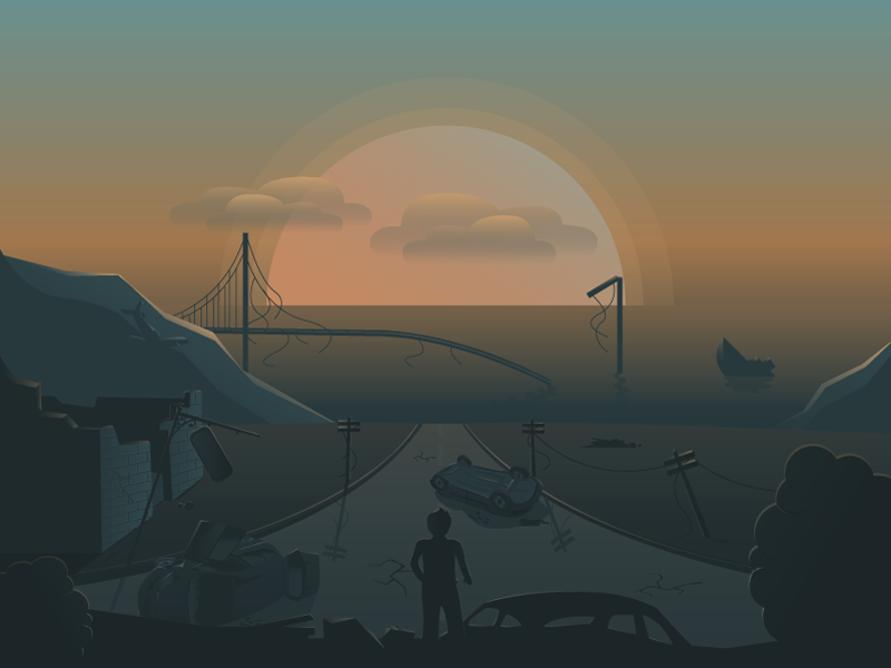 Apocalypse water sea cars vector future bridge illustration wrecked ship ruins apocalypse