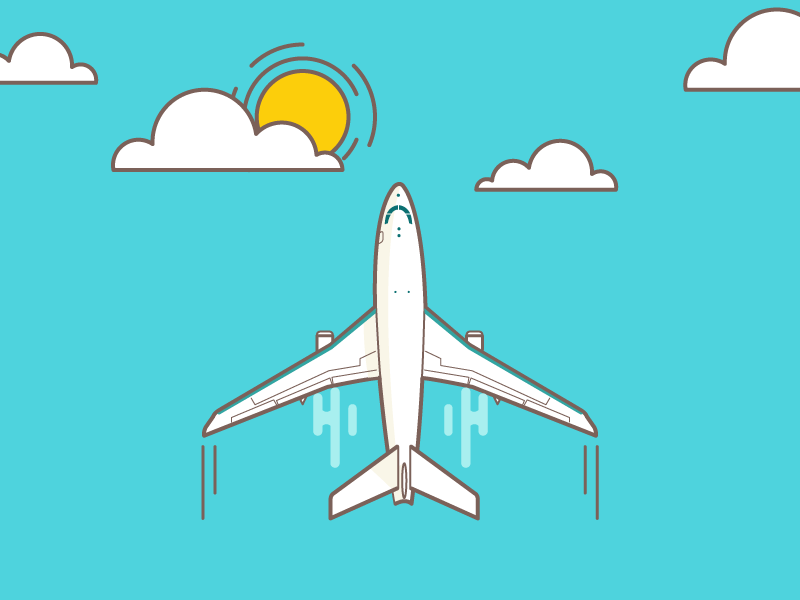 Take off minimal dribbble airplane icon flat illustration lines vector clouds take off plane