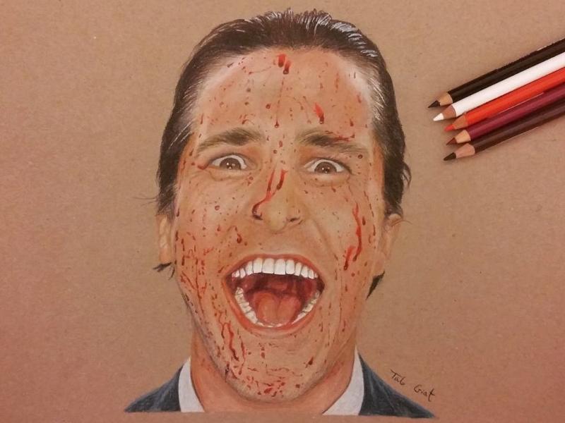 American psycho - Realistic pencil drawing art drawing realistic drawing pencil christian bale american psycho