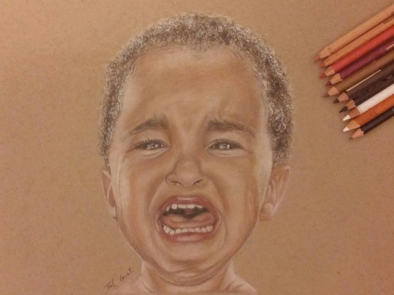 Crying kid - Realistic pencil drawing crying kid kid crying pencil realistic drawing drawing art