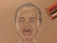 Crying kid - Realistic pencil drawing