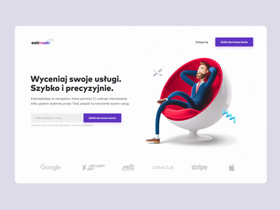Estimade.app landing page software ui animation clay render 3d landing page landing uxui webdesign sass offers estimation webapp