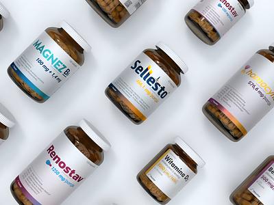 Hauster's Bottles medical supplements illustration logo animation brand design brand identity packaging label design label bottle pills drugs bottle label medicine branding