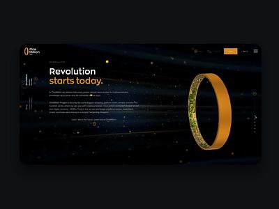 One Million - version 1.0 ux design ui logo animation uxui gold digital crypto currency website space future city 3d animation 3d cryptocurrency crypto