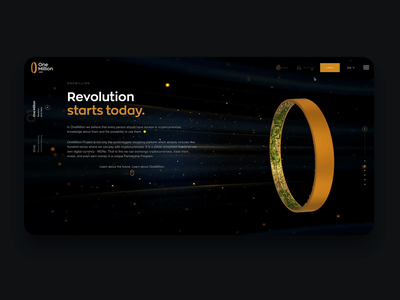 The Ring - version 1 blender uxui website gold model threejs million stars space future cryptocurrency crypto ring 3d animation 3d software house design ux animation app