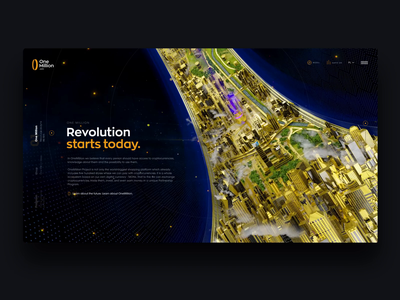 OneMillion - Ring 2.0 token cryptocurrency future landing blockchain crypto gold city 3d motion graphics ui animation
