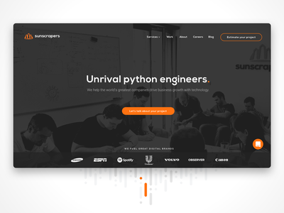 Unrival python engineers sketch homepage landing page javascript software design software house python sunscrapers