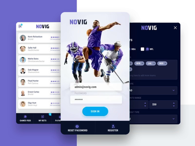 NoVIG login view nhl nfl nba sport app sport app animation app games gamble login