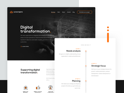 Digital Transformation website software house house software landing page orange black  white black ui ux design landingpage landing process technology sunscrapers transformation digital