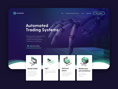 at.systems landing page landingpage landing machinelearning machine block chain fintech automation automated robot system trading bot crypto currency cryptocurrency crypto blockchain