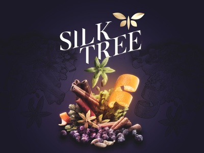 Silk Tree butterfly keyvisual irish bottle spirit nonalcoholic alcohol tree silk logo label gin