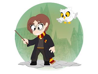 Harry Potter illustrator illustration hogwarts harry potter hedwig magic