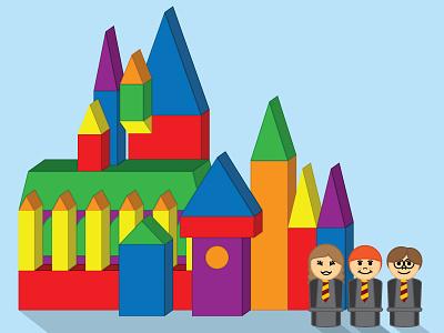 Hogwarts Blocks illustration kids harry potter hogwarts