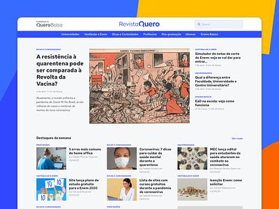 Revista Quero blog layout design interface ui