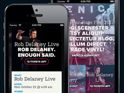 New Homepage and Event Page (Mobile) mobile responsive events ticketing party fun