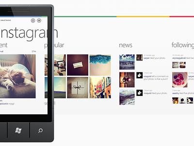 Instagram WP7 Concept instagram insta concept windows windows phone 7 wp7 hyper island hyper ui interface idea translation off canvas offcanvas