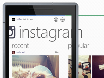 Instagram WP7 Concept instagram insta concept windows windows phone 7 wp7 hyper island hyper ui interface idea translation off canvas offcanvas
