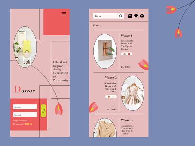 Sustainable fashion store app clothingapp clothingstore onlineshoppingapp flower softcolours sustainablefashion ui app pastel illustration dailydesign quickdesign design