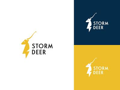 Storm Deer Logo horns animal power energy electric mascot storm deer logo creation creative logo logo designer logo maker brand identity branding logo skull