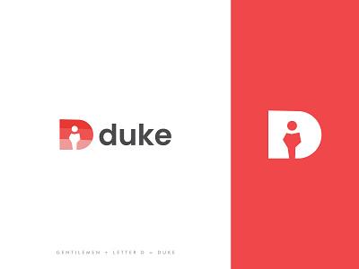 Duke Logo lettermark symbol mark alphabet bow tie top hat monocle sir mister gentlemen illustration vector brand identity modern logo design branding logoinspirations logo