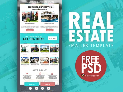 Real Estate E-mailer Template Free PSD by PSD Freebies - Dribbble
