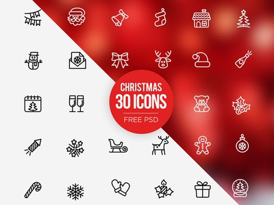 Freebies: 30 Christmas icons set Free PSD