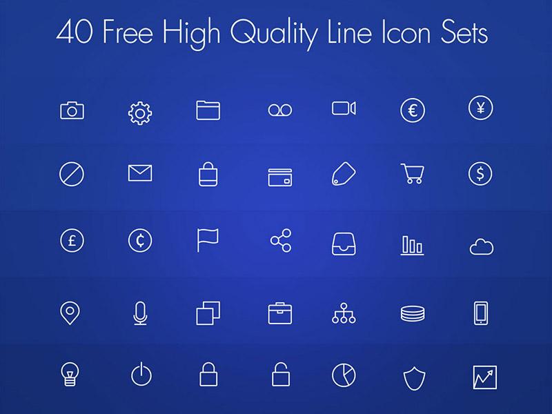 Freebie : 40 Free High Quality Line Icon Set PSD latest icons outline icon icons iconset free psd freebie exclusive free