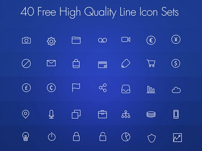 Freebie : 40 Free High Quality Line Icon Set PSD