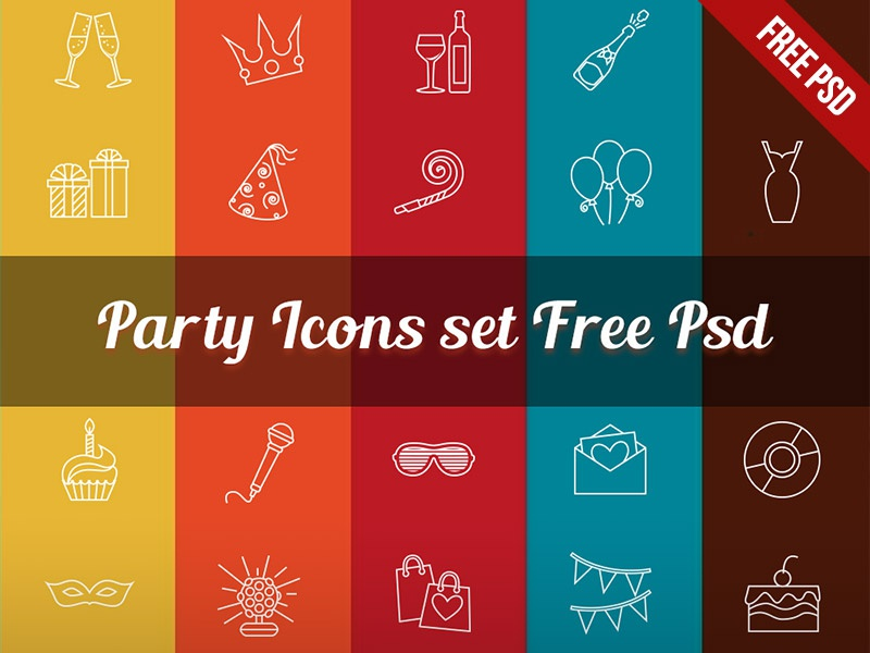 Freebie : Party Icons set Free Psd psd valentines birthday party newyear celebration holiday outline icon iconset exclusive freebie free psd