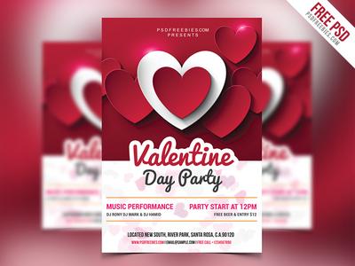 Freebie : Valentine Day Party Flyer Free PSD