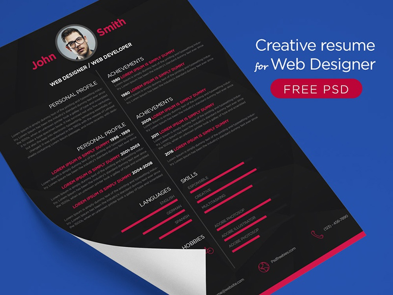 free creative resume for web designer psd by psd freebies