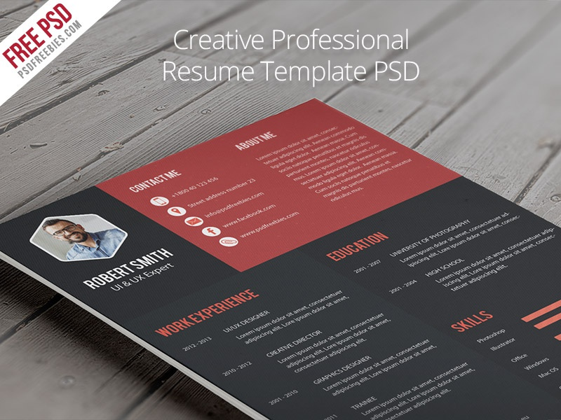 Freebie Creative Professional Resume Template PSD