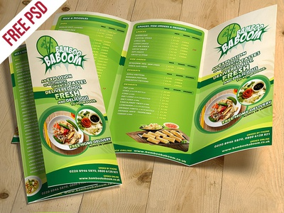 Tri Fold Restaurant Food Menu Template Free PSD  Free Food Menu Template