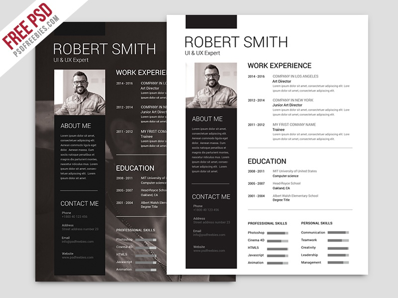 freebie   simple and clean resume free psd template by psd freebies